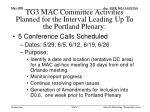 tg3 mac committee activities planned for the interval leading up to the portland plenary
