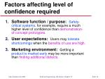 factors affecting level of confidence required