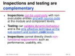 inspections and testing are complementary