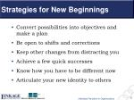 strategies for new beginnings