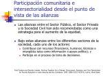 participaci n comunitaria e intersectorialidad desde el punto de vista de las alianzas