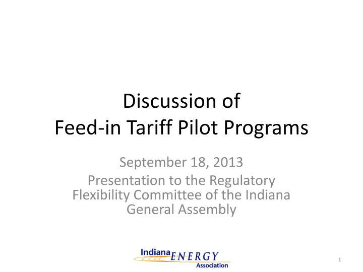 discussion of feed in tariff pilot programs n.