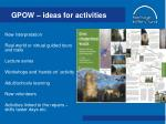 gpow ideas for activities