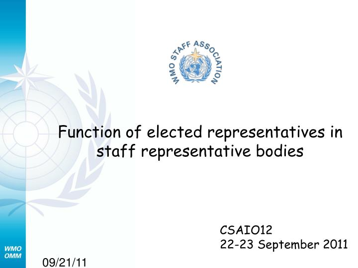 function of elected representatives in staff representative bodies n.