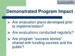 demonstrated program impact