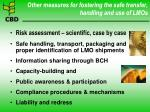 other measures for fostering the safe transfer handling and use of lmos