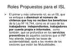 roles propuestos para el isl