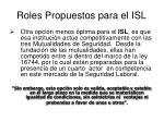 roles propuestos para el isl1