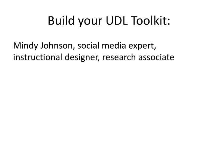 build your udl toolkit n.