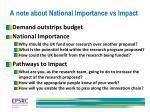 a note about national importance vs impact