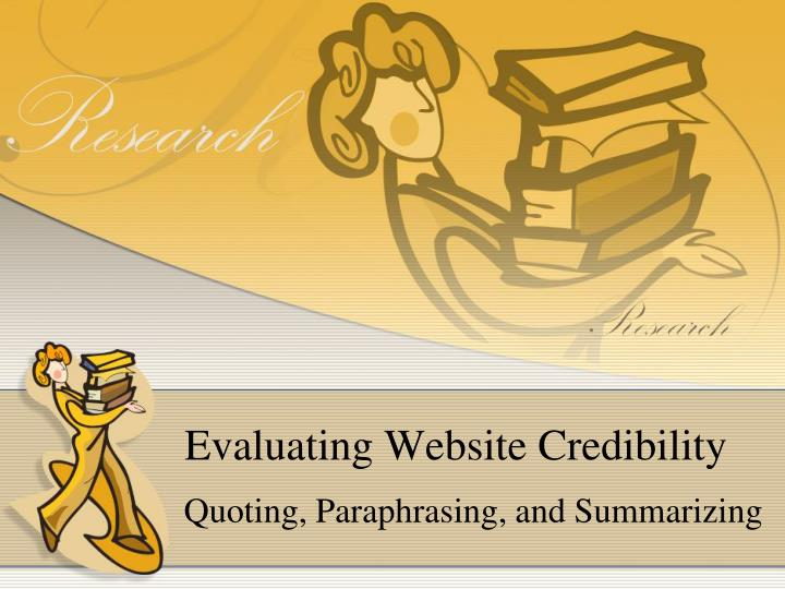 evaluating website credibility n.