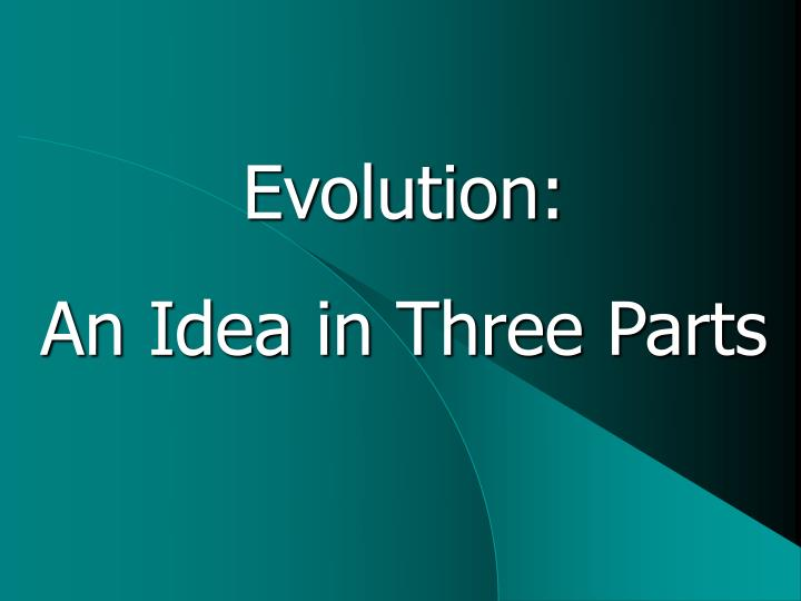 evolution an idea in three parts n.