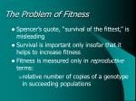 the problem of fitness