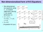 non dimensionalized form of n s equations
