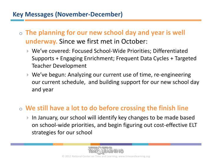 Key Messages (November-December)
