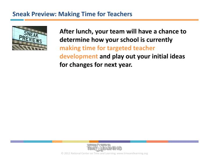 Sneak Preview: Making Time for Teachers