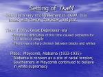 setting of tkam