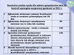 parametry analizy ryzyka dla wyboru gospodarstw wi do kontroli wymog w wzajemnej zgodno ci w 2011 r