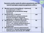 parametry analizy ryzyka dla wyboru gospodarstw wi do kontroli wymog w wzajemnej zgodno ci w 2011 r1
