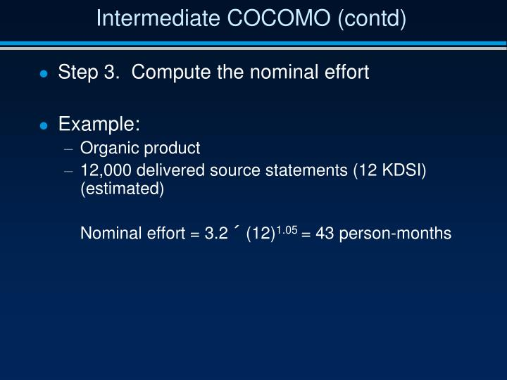 Intermediate COCOMO (contd)