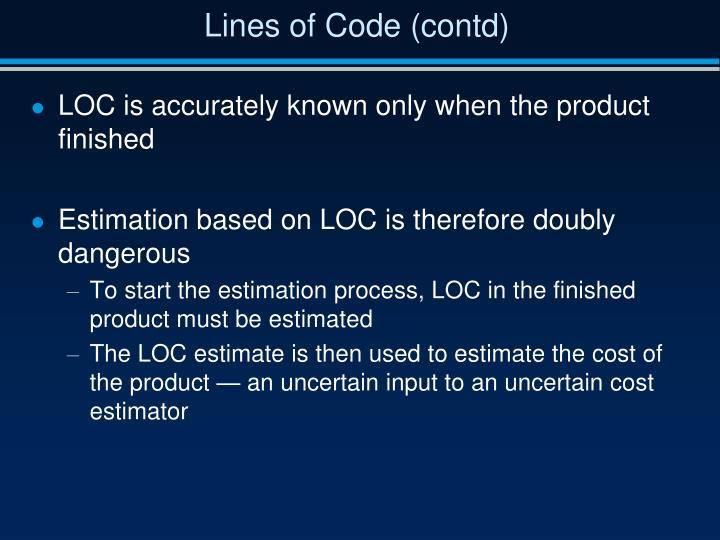 Lines of Code (contd)