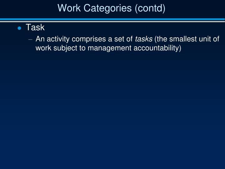 Work Categories (contd)