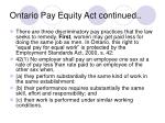 ontario pay equity act continued