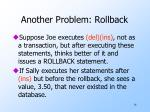another problem rollback