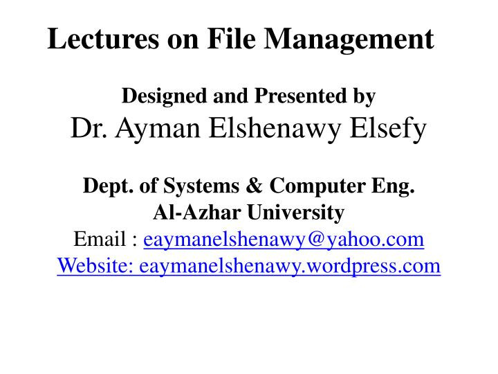 lectures on file management n.