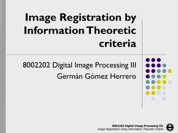 image registration by information theoretic criteria n.