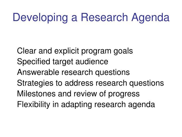 Developing a research agenda