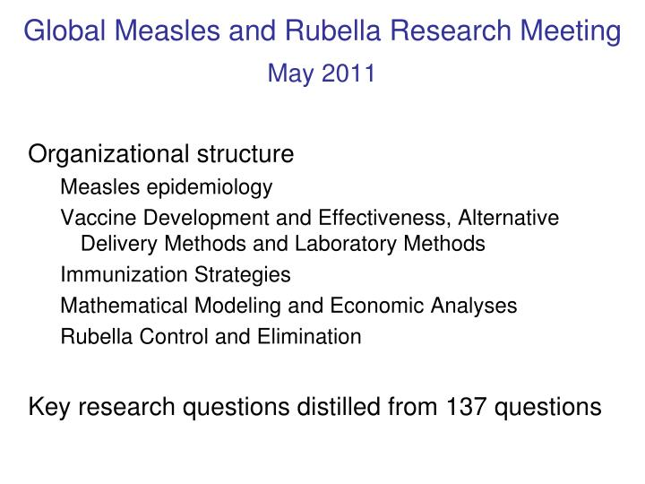 Global Measles and Rubella Research Meeting