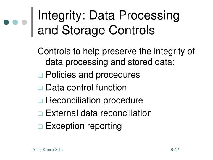 Integrity: Data Processing and Storage Controls