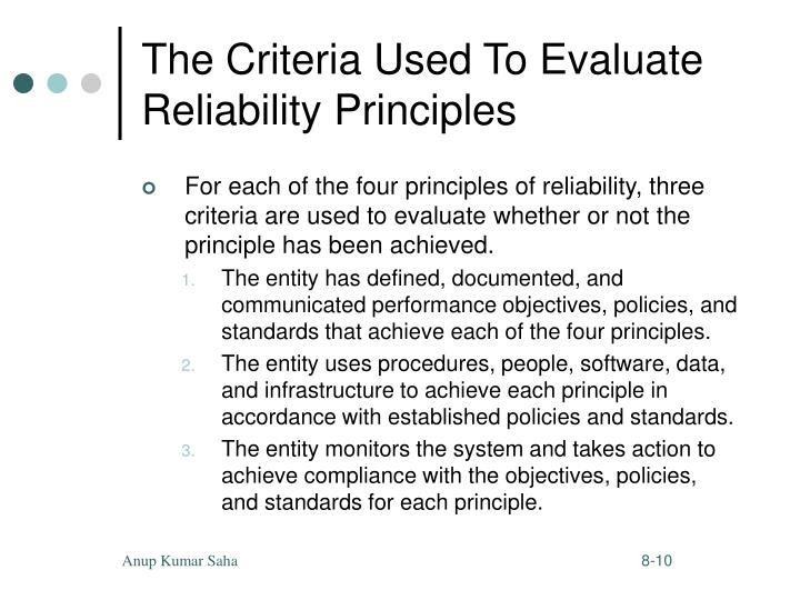 The Criteria Used To Evaluate Reliability Principles