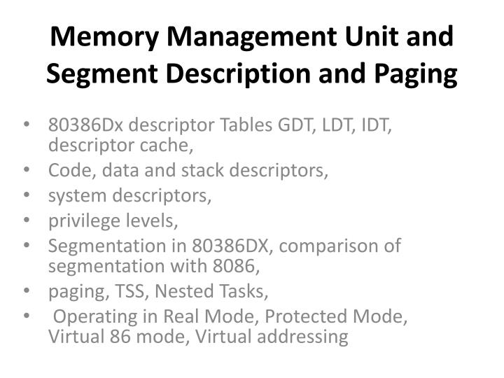 memory management unit and segment description and paging n.