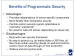 benefits of programmatic security