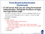 form based authentication continued