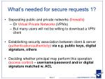 what s needed for secure requests 1