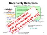 uncertainty definitions considered so far2