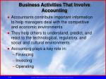 business activities that involve accounting