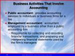 business activities that involve accounting1
