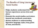 the benefits of using literature in social studies