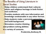 the benefits of using literature in social studies1