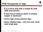 rfid transponder or tags