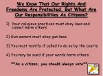 we know that our rights and freedoms are protected but what are our responsibilities as citizens