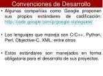 convenciones de desarrollo