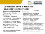 curriculum level 8 requires students to understand