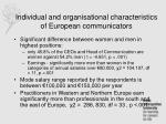 individual and organisational characteristics of european communicators
