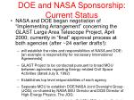 doe and nasa sponsorship current status