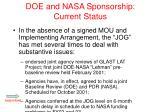 doe and nasa sponsorship current status1